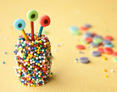 Use Rolos and sprinkles to make chocolate monsters.