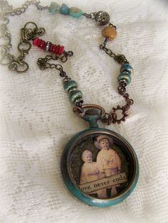 Handmade Altered Pocketwatch  Necklace~ Altered Antique Pocket Watch by QueenBe