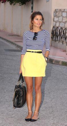 Navy stripes + Lemon skirt