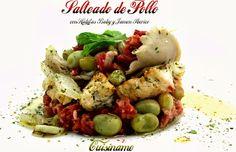 Salteado de Pollo con Setas, Habitas Baby y Jamón Ibérico. Recetas de Cocina sabrosas y originales.