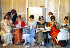 """Reading on the set of """"Pride & Prejudice"""" (BBC, 1995).  Jane Austen would have been so pleased to see this!"""