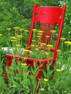 From HGTV Almost Free Outdoor Updates, a new take on a chair planter.