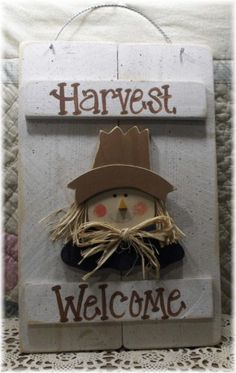 Harvest Scarecrow White Wood Shutter Sign-fall,harvest,scarecrow,wood,sign,harvest welcome,primitive