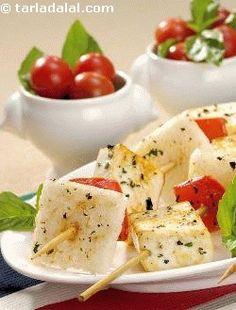 Paneer and Tomato Skewers ( Paneer Snacks ) recipe | Paneer Recipes, Paneer Recipe | by Tarla Dalal | Tarladalal.com | #32940