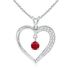 Round Ruby and Diamond Heart Pendant #Angara