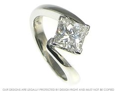 Platinum and princess cut diamond engagement ring ~ Harriet Kelsall Jewellery Design