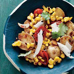Baby Potatoes with Tomato-Corn Sauté - Fresh Tomato Recipes - Cooking Light