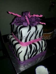 Pink purple birthday cake