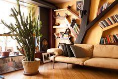 beautiful bookshelf and reading nook