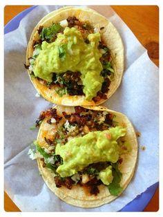 Carne asada tacos con guacamole from Taqueria Mi Familia (San Rafael, CA)