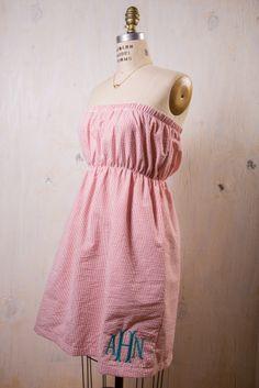 Monogrammed Seersucker Dress on BourbonandBoots.com #monogram #seersucker #dress