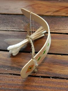 Toy for little kids: Soak popsicle stick until bendy, string the bow with fishing line or floss, use q-tip arrows (one end cut off and notched)