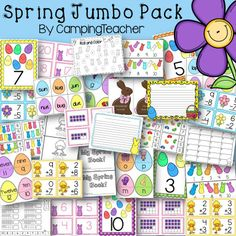 1/2 off for first 48 hours! Spring Jumbo Pack with spring and Easter math and language arts activities!
