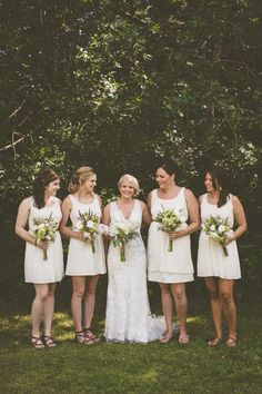 white bridesmaid dresses http://www.weddingchicks.com/2013/09/27/wisconsin-wedding/