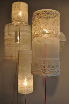 Lace pendant lights. Pretty for a nursery
