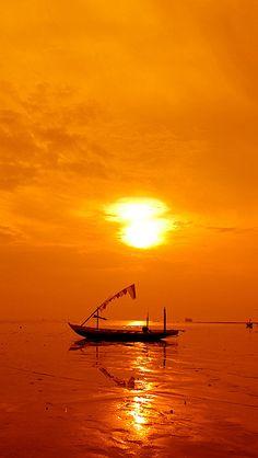 Sunrise in Kenjeran Beach, East Java, Indonesia