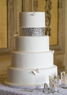 Elegant White Cake with Rhinestones and Pearls