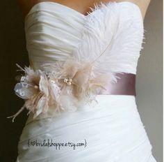 Wedding Sash MAGGIE Lace - Blush Lace