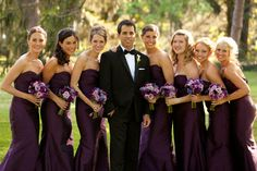 Plum bridesmaid dress. This gets at the deepness of the Bill Levkoff plum (but in chiffon, not satin).  Looks good with the black tux (with tie, which will look good with chiffon  vs. satin)