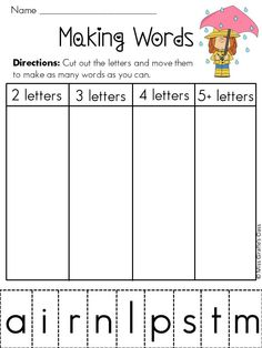 45 weeks of Making Word word work literacy station. Each week has a focus sound and is designed to make as many words with that sound as possible & each has a pic in corner with that sound that they can build to get started! Fun!