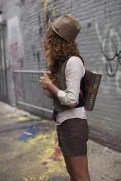 vests! short, style, outfit, book, backpack, summer clothes, indiana jones, curly hair, hat