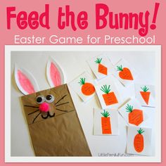 Fun Easter activity for kids. Learn shapes while they feed the bunny puppet!