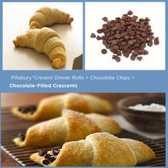 15 Things You Can Stuff in a Pillsbury Crescent Roll. List includes ideas like: chocolate chips, apples and cinnamon, mixed berries and cream cheese, spinach feta cheese and mozzarella cheese.