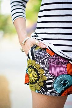 Colorful Pocket Shorts With Black And White Striped Shirt