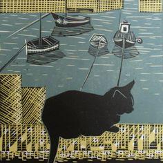 MouseholeCat_Print. 3 Colour Lino Cut