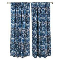 Pretty blue curtains.