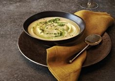 Creamy Celery Root Soup with Pesto Swirl | Vegetarian Times