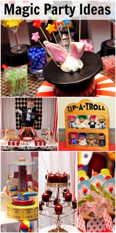 Great magician and circus party ideas // Ideas para fiestas temáticas de magia y circo