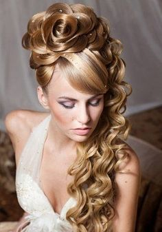 the rose is a bit too large and looks impossible but it looks beautiful Messy bun look.  Messy bridal hair: Relaxed, slightly messy bridal hair is part boho, part whimsical and a totally romantic  wedding hairstyle.