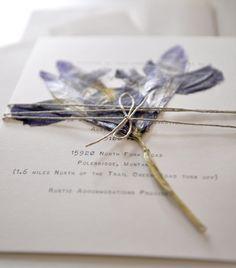 iris dried flower wedding invitation