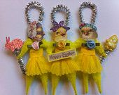 Easter girl chicks set of 3 vintage style chenille ornaments StanleyAndStewart  vintage style chenille ornaments Etsy
