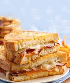 Beer battered bacon & grilled cheese sandwiches.  Yum!