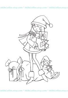 digi stamps, christma girl