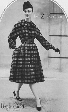 1950's plaid coat - equal parts cozy and chic! Modeled by Evelyn Tripp
