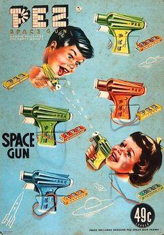 Pez ad space gun, guns, candi, poster, vintage candy, funny commercials, vintage ads, pez, vintage advertisements