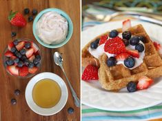 Whole Grain Waffles with Greek Yogurt and Berries