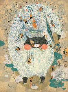 Wonderful Creatures by Victo Ngai Ltd. Ed 100 $95 #gift #print #christmas #cat #birthday #anniversary