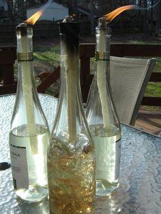 wine bottle crafts | Wine Bottle Tiki Torches [SOURCE]