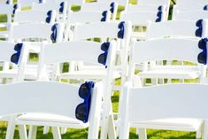 Having an outdoor ceremony? Leave a fun pair of sunglasses on each guest's chair. What a great idea!