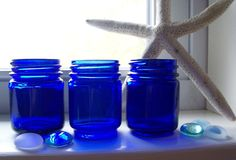 set of 3 blue cobalt jars $6.00 Etsy @Adrienne Belz, I saw you were looking for blues...I'd check second hand shops near you and Etsy has some great wedding finds too! Congrats!!