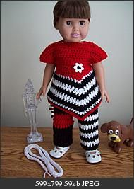 "CROCHET:  Free pattern - Black and White & Red all over. 18"" doll"