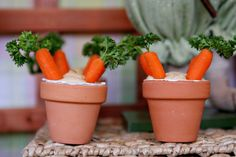 Carrot Patches (baby carrots topped w/parsley in little pots filled w/hummus) carrot patch, craft party, spring crafts, craft parti
