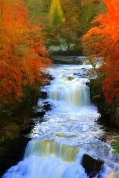 Falls of Clyde in full flow, New Lanark, Scotland...