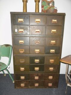 Perfect seed library.  Vintage Industrial Cabinet Chest of Drawers by bluebonnetfields, $950.00