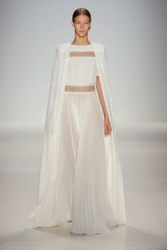 Gorgeous white gown/w/ cape FROM:Spring 2015 RTW FROM: Tadashi Shoji Collection