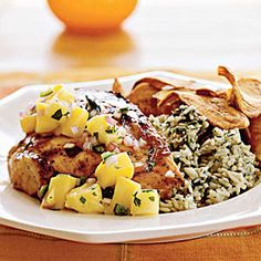 Grilled Chicken with Mango-Pineapple Salsa Recipe (Made it, SO good!)